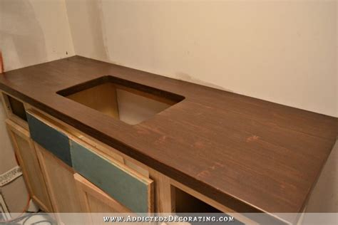 kitchen copper backsplash stained diy butcherblock countertop with an