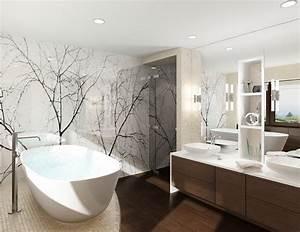 Moderne Wandgestaltung Bad : bad ohne fliesen wand wei e glaspaneele dekorativ holzboden bathroom pinterest holzboden ~ Sanjose-hotels-ca.com Haus und Dekorationen