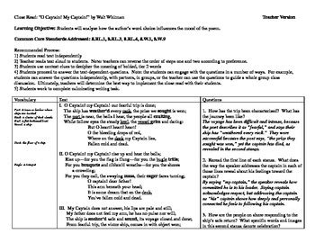 o captain my captain worksheet worksheets for all