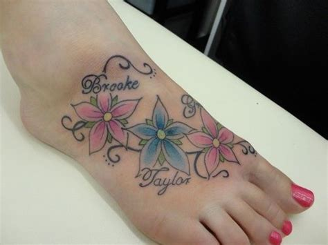 foot tattoos  names  flowers google search