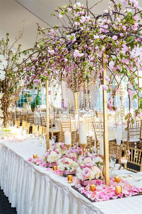 Pretty cherry blossom wedding decor Bijal and Amish's