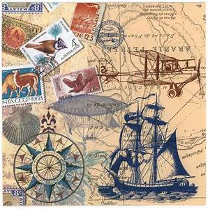 Decoupage Paper Napkins of Vintage Travel World Map Tall