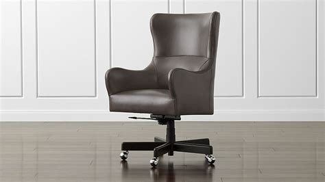 liv leather wingback office chair manhattan pewter