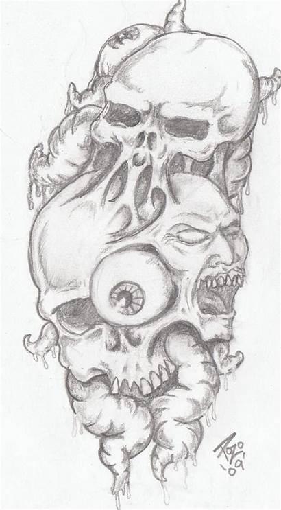 Morbid Tattoo Evil Deviantart Visions Skull Wicked