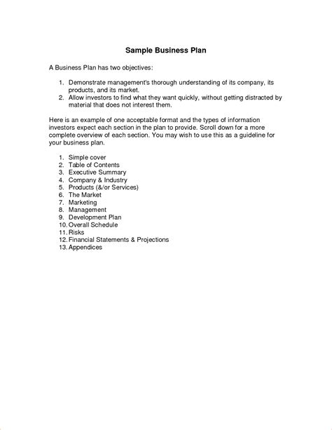 simple business template 5 simple business plan outline procedure template sle