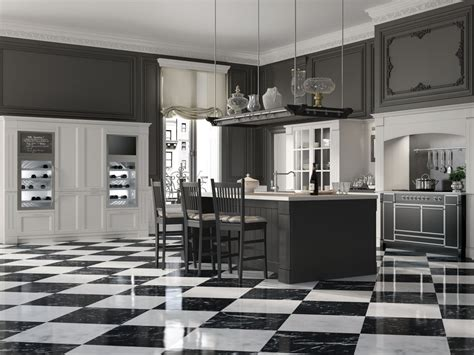 carrelage cuisine damier noir et blanc country chic mood kitchen by minacciolo