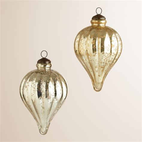 silver and gold teardrop mercury glass ornaments set of 2