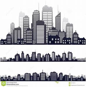 Vector City Silhouette Isolated On White Stock Vector ...
