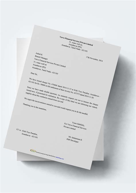 cheque stop payment letter format  generator