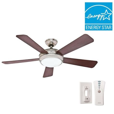 home depot ceiling fans with remote hunter palermo 52 in indoor brushed nickel ceiling fan