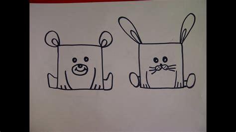 zeichnen ideen anfänger zeichnen lernen f 252 r kinder b 228 r hase wie kann aus einem quadrat verschiedene tiere zeichnen