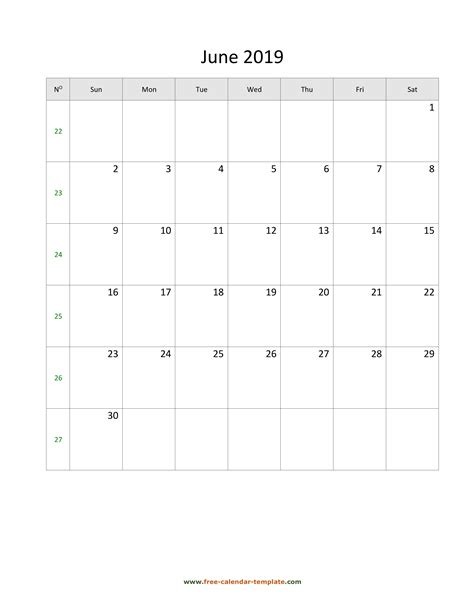 june calendar simple design large box day notes
