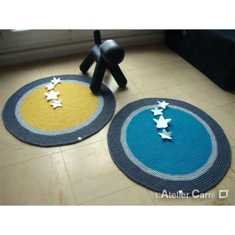 tapis rond jaune gris et bleu