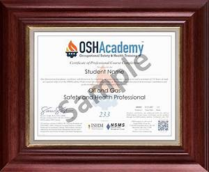 Template For A Certificate Oshacademy 233 Hour Oil And Gas Safety And Health