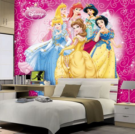 bedroom with pink walls beautiful princesses wallpaper 3d photo 14476