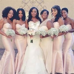 2017 Elegant Light Pink African American Black Girls' Bridesmaid Dress Mermaid Satin Long New