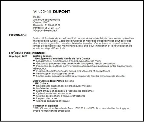 exemple cv militaire cv anonyme