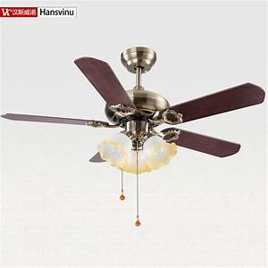 Wood and metal bronze color modern quiet ceiling fans with