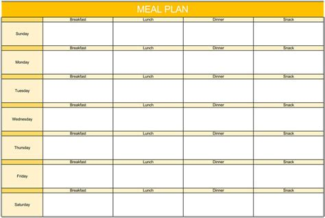 weeklydaily meal plan templates  excel  word