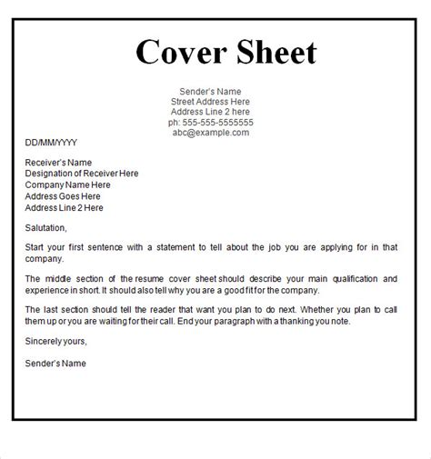 Resume Cover Sheet Template by Cover Sheet Template 9 Free For Word Pdf Sle Templates