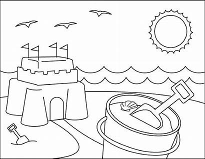 Coloring Beach Pages Sandcastle Scenes Activities