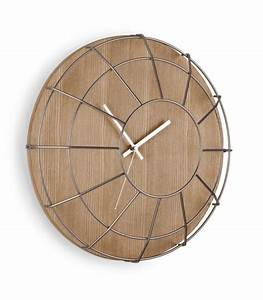Design wall clock wood and steel cage umbra wadiga