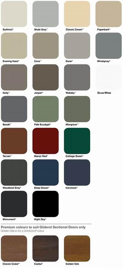 Colour Chart Colorbond Colourbond Range Doors Colours