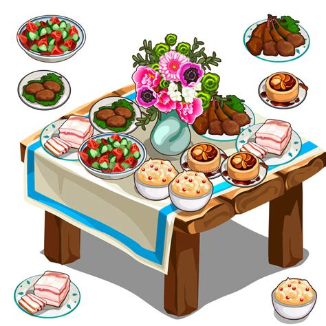 comi cuisine festive table with delicious food and flowers stock vector