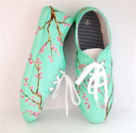 mint green cherry blossom vans style shoes  wanelo