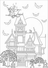 Mansion Haunted Coloring Halloween Zombie Witch Maison Hantée Frightening Adult Adults sketch template