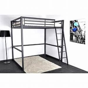 Lit Mezzanine 140x190 : progress lit mezzanine 140x190 cm sommier noir mat ~ Melissatoandfro.com Idées de Décoration