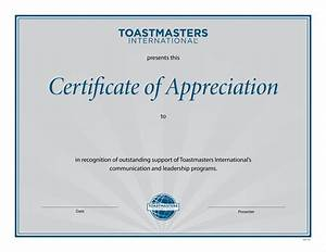 Certificate of appreciation for Toastmasters certificate of appreciation template