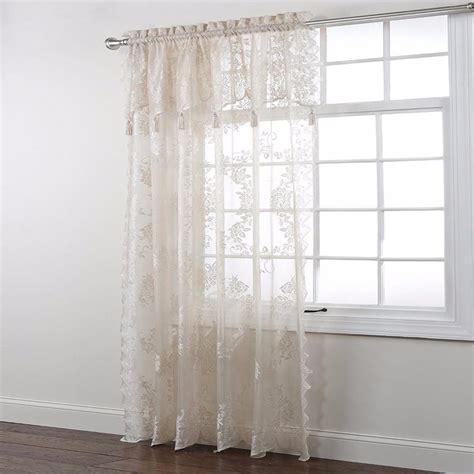 lace curtain panel with attached valance lace panel with attached valance curtainshop