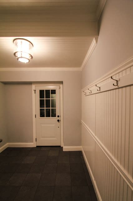 Mudlaundry Room Remodel With White Wainscoting