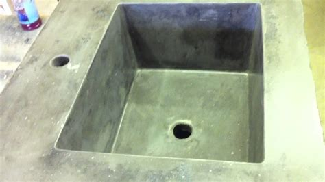 how to make a cement sink concrete countertop integral rectangle sink mold youtube