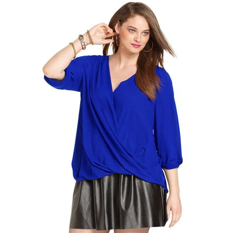 blue blouses plus size sleeve draped blouse in blue lyst