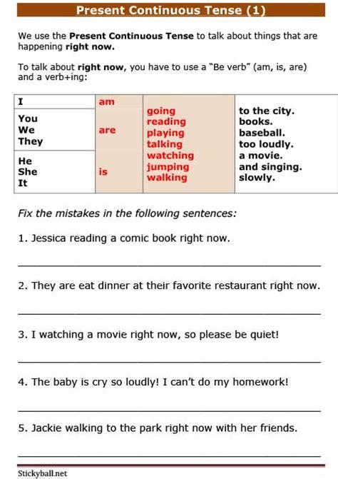 esl grammar worksheets present continuous tense