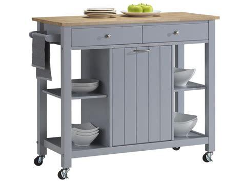 bureau junior desserte de cuisine à roulettes hévéa grise