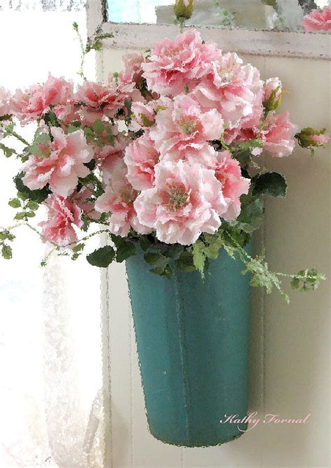 shabby chic flowers cottage shabby chic hanging basket pink flowers photograph by kathy fornal