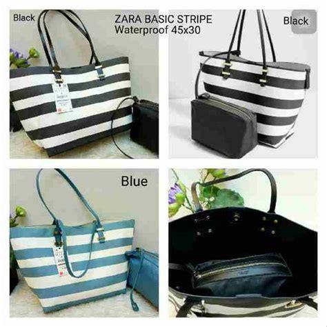 tas stripes pouch jual tas wanita zara basic stripe set pouch di lapak