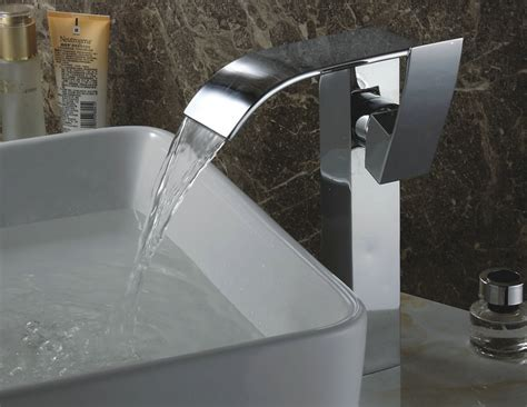 chrome finish contemporary waterfall bathroom sink tap