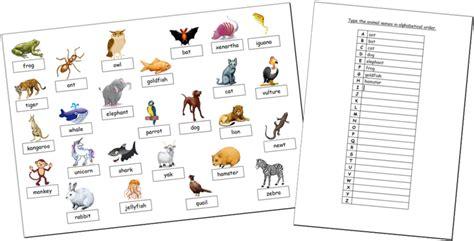 animal worksheet   animal names alphabetical order