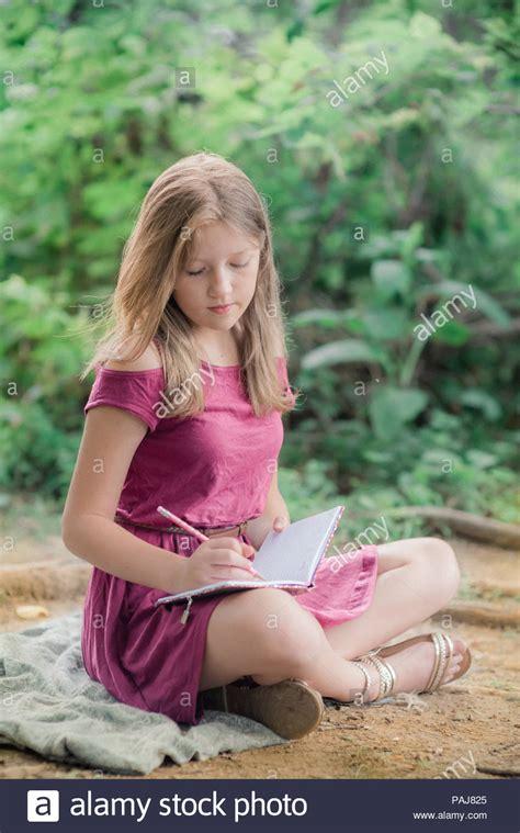 Pre Teen Girl Outdoors Stock Photo Alamy