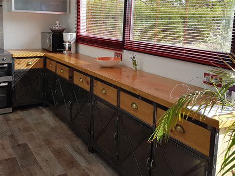 meuble de cuisine industriel mobilier de cuisine en bois massif meubles cuisine bois
