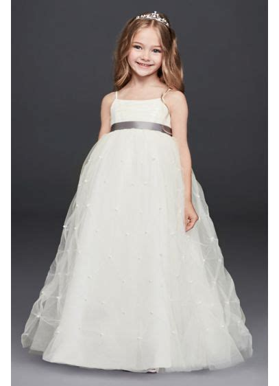 tulle flower girl dress  pearl pick ups davids bridal