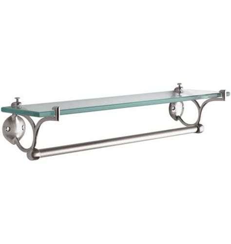 Bathroom Shelf With Towel Bar Brushed Nickel by Rejuvenation Linfield Collection Glass Shelf With Towel