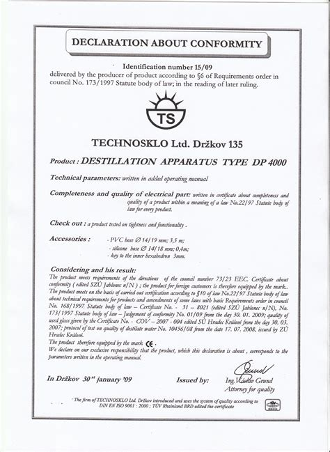 ce self certification template declaration about conformity technosklo ltd