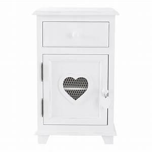 Table Chevet Blanc : table de chevet avec tiroir en bois blanc l 40 cm valentine maisons du monde ~ Teatrodelosmanantiales.com Idées de Décoration