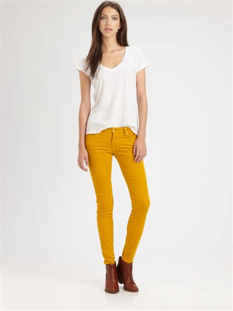 7 For All Mankind Luxe Corduroy Skinny Jeans in Yellow ...