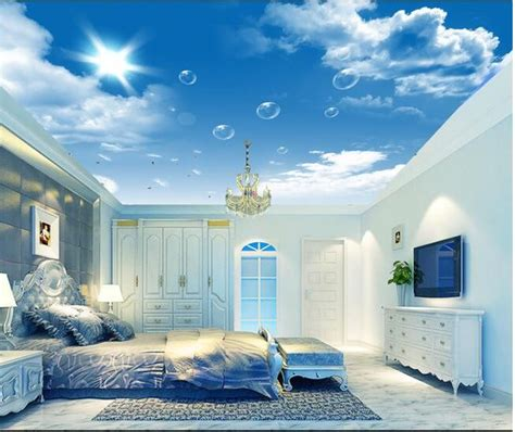 wallpaper custom mural  woven hd blue sky white